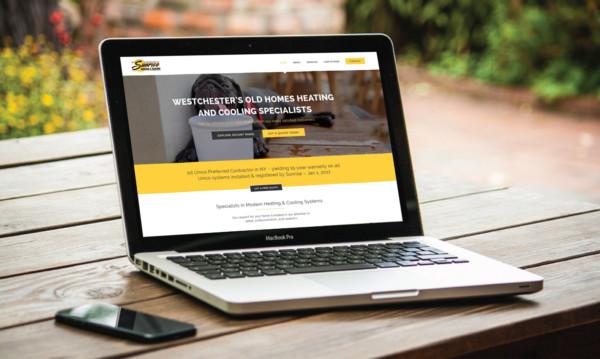 Sunrise Heating & Cooling website at Beverley Designs